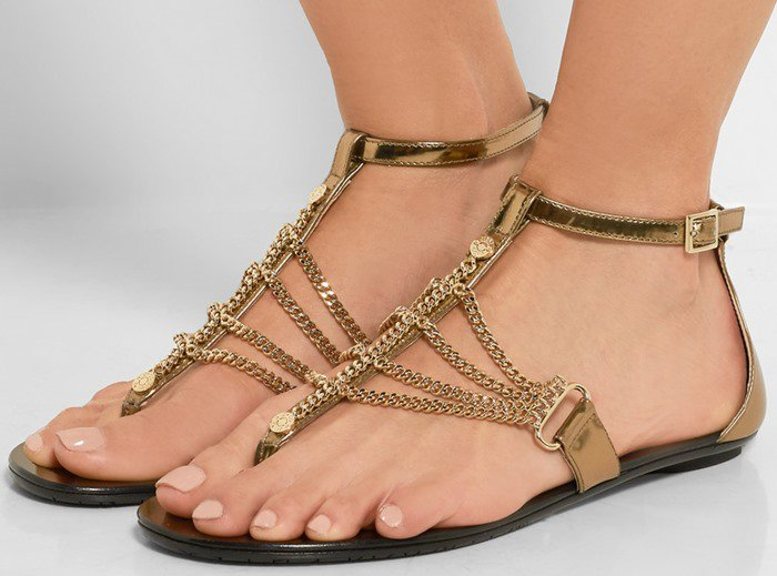Jimmy Choo Wallace chain-embellished mirrored-leather sandals