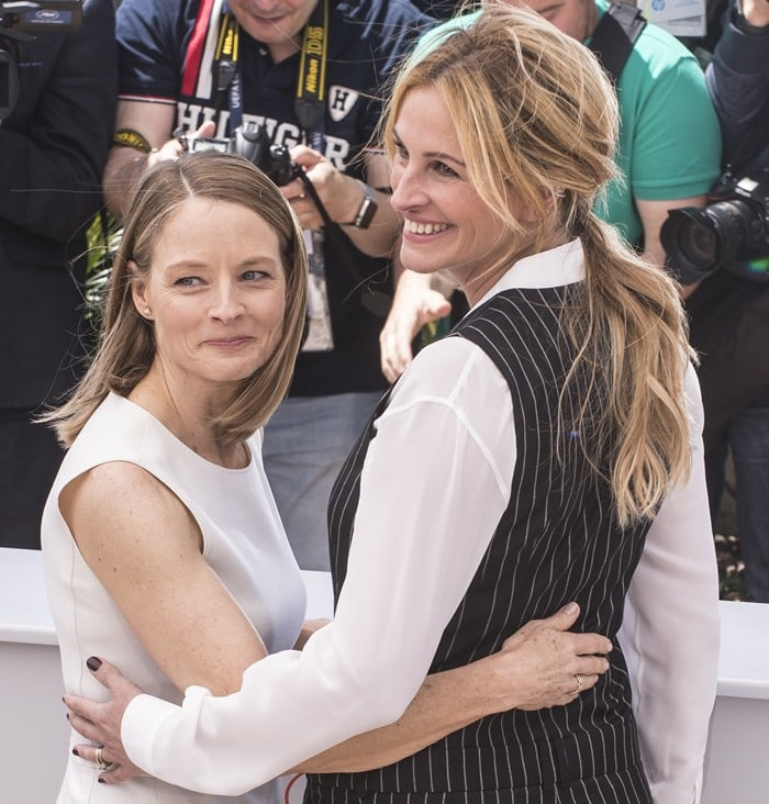 Jodie Foster and Julia Roberts at the photo call for their upcoming film 'Money Monster' held during the 2016 Cannes Film Festival at the Palais des Festivals in Cannes on May 12, 2016