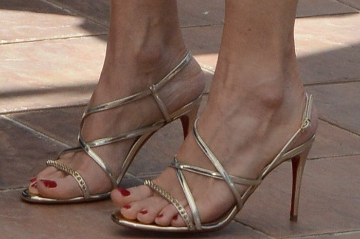 Jodie Foster's feet in strappy silver heels