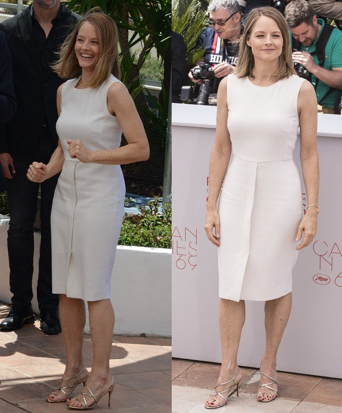 Jodie Fosterlooked stunning in a stretch wool princess dress from Max Mara styled with a pair of strappy silver heels