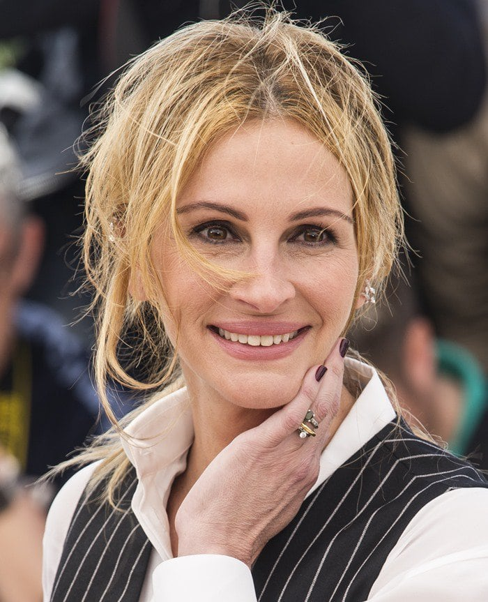 Julia Roberts sported a black and white pinstripe Givenchy jumpsuit