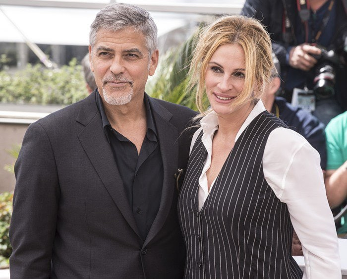 George Clooney and Julia Roberts at the photo call for their upcoming film 'Money Monster' held during the 2016 Cannes Film Festival at the Palais des Festivals in Cannes on May 12, 2016