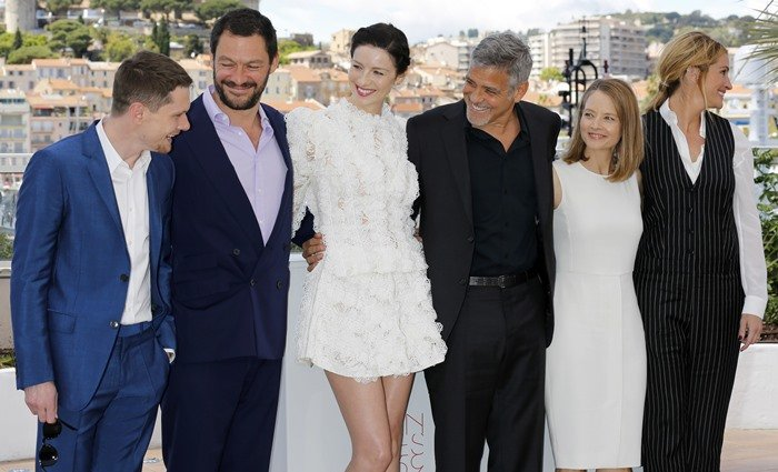 George Clooney, Julia Roberts, Jodie Foster, Dominic West, Jack O'Connell, and Caitriona Balfe