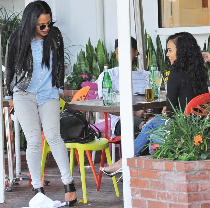 Karrueche Tran and Christina Milian having lunch at Mauro's cafe with friends