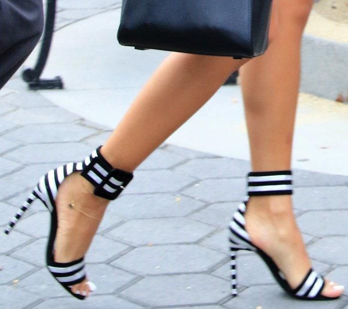 Karrueche Tran in Saint Laurent Paloma sandals
