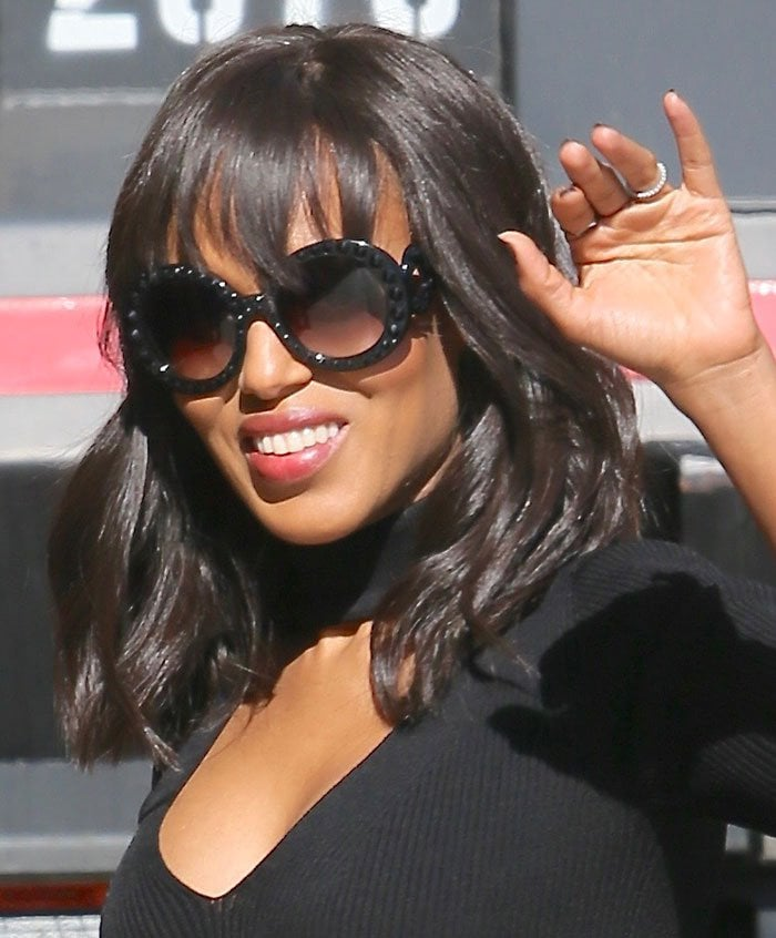 Kerry Washington shielding her eyes behind Prada 'Baroque' sunnies
