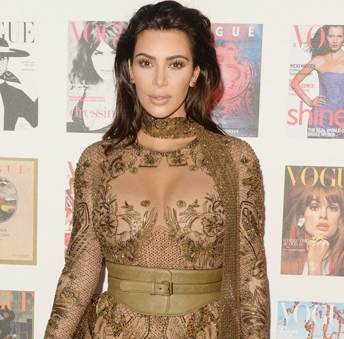 Kim Kardashian's unflattering curtain gown was styled with slicked-back hair
