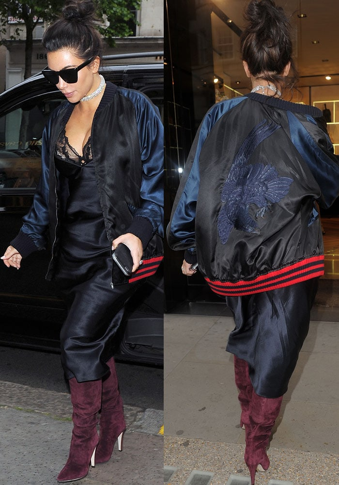 Kim Kardashian Hakkasan London Kanye Purple Boots 2