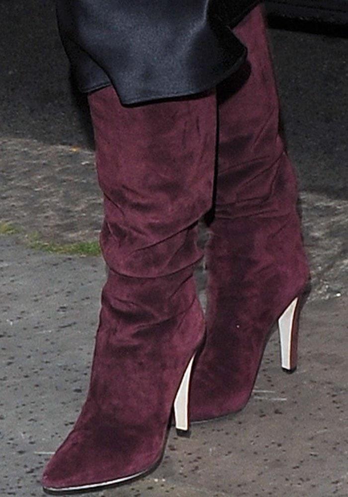 Kim Kardashian Hakkasan London Kanye Purple Boots 3