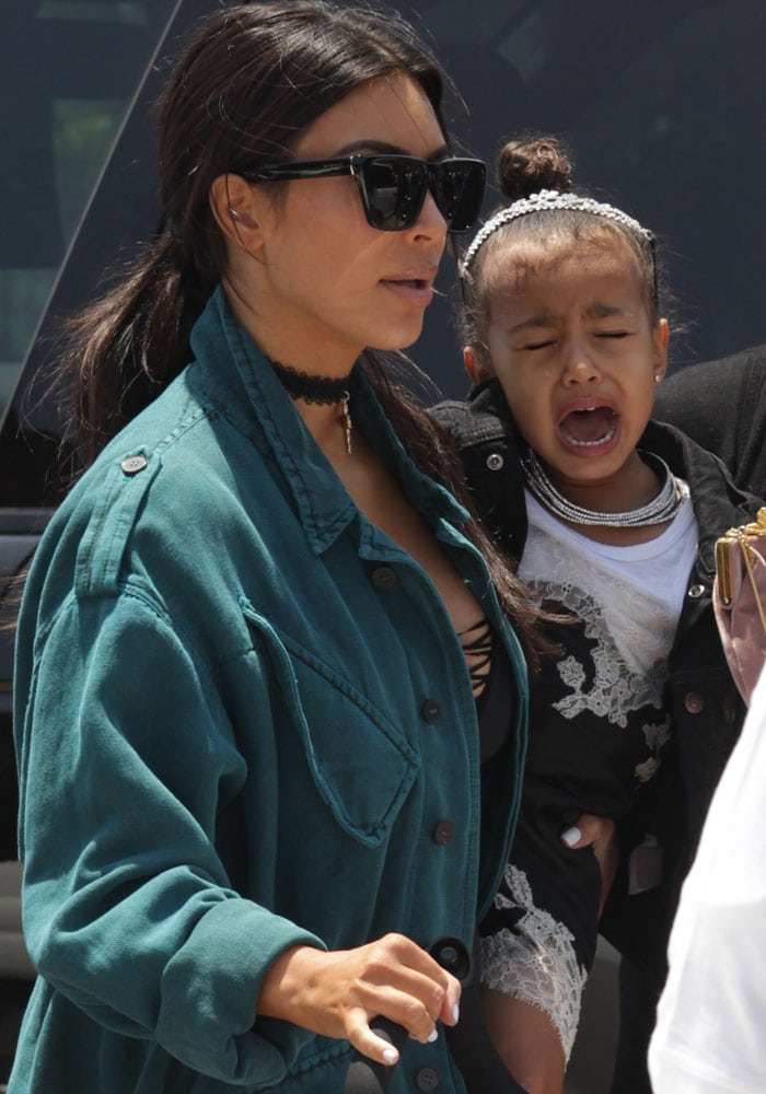 Kim Kardashian spotted on a lunch out with her kids