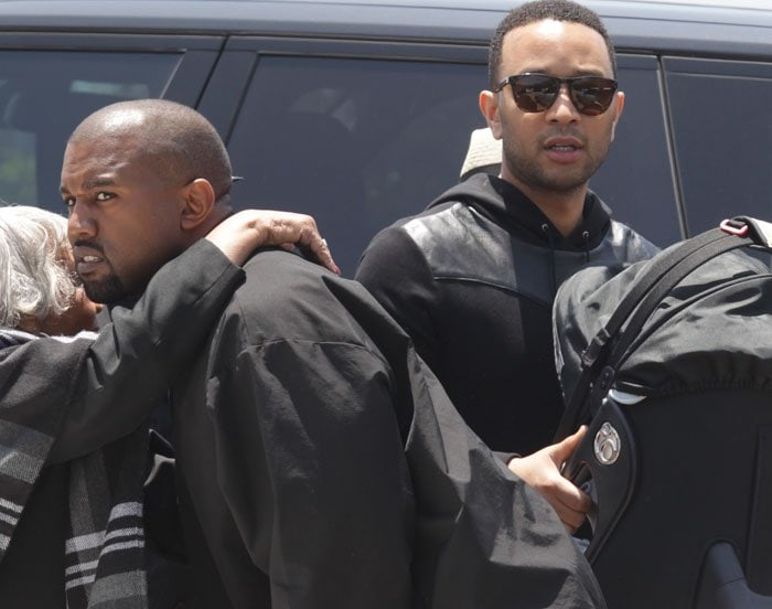 Full support: dads Kanye West and John Legend join their wives and children for lunch