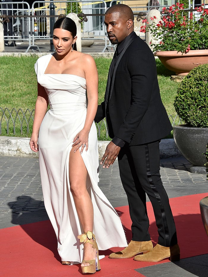 "Husband-and-wife Kim Kardashian West and Kanye West hitting the ""La Traviata"" Opening Gala red carpet"