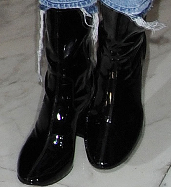 Kendall Jenner's black Kenneth Cole Krystal leather patent boots