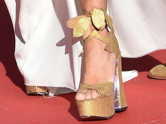 Vivienne Westwood gold-leaf platform sandals with chunky, silver-lined heels