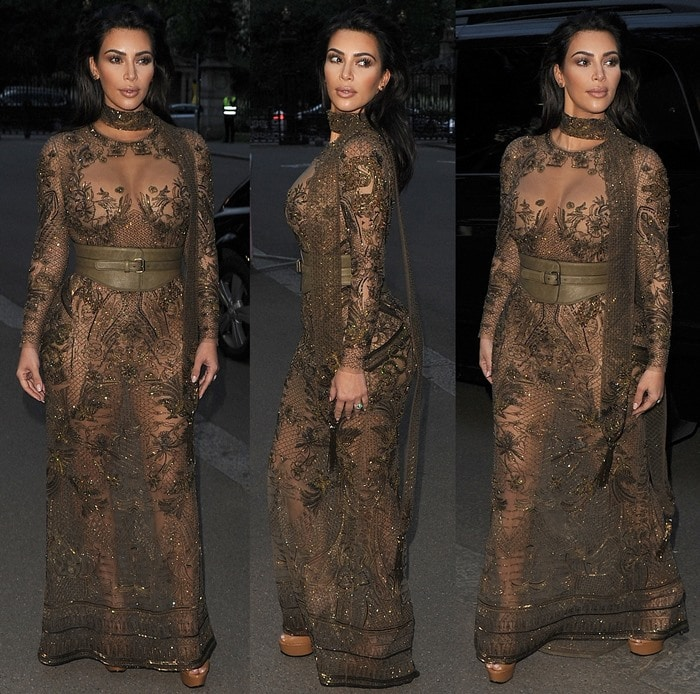 Kim Kardashian in a very revealing khaki Roberto Cavalli Couture gown at the Vogue 100 Festival Gala held at Kensington Gardens in London on May 23, 2016