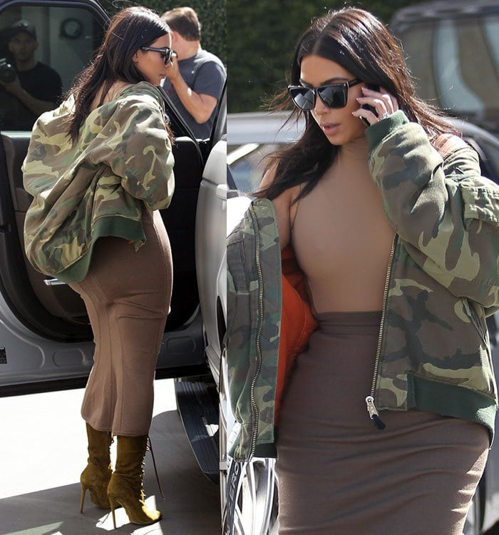 Kim Kardashian rocking a nude high-neck bodysuit by Adidas and a taupe midi skirt that highlighted her famous curves