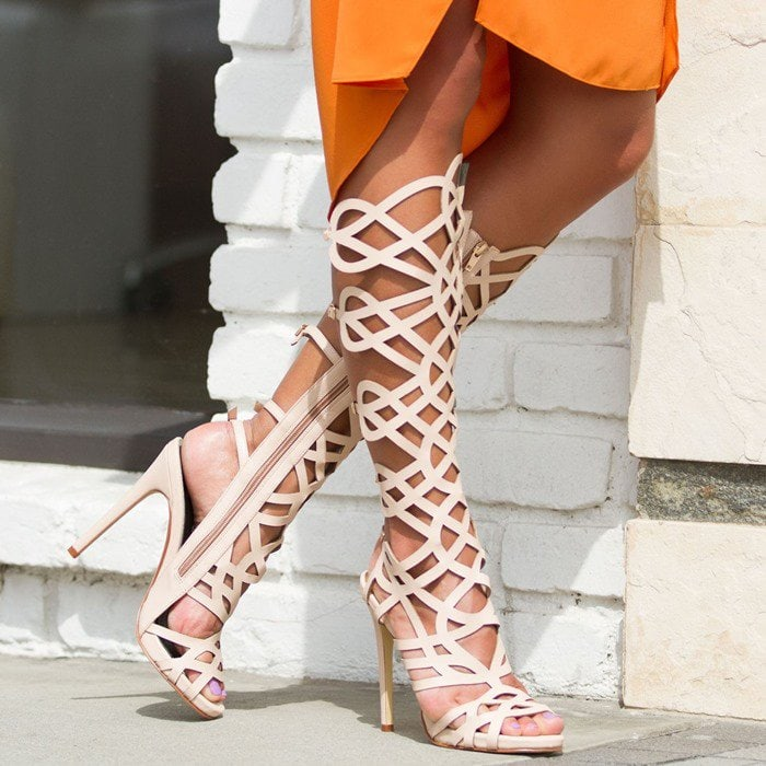 Knee-High Gladiator Sandals in White