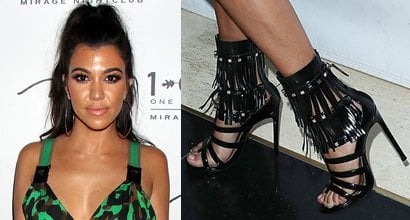 e0cce3f2d2a Kourtney Kardashian Shows Off Her Feet in Silver-Tone Studded Fringe Sandals