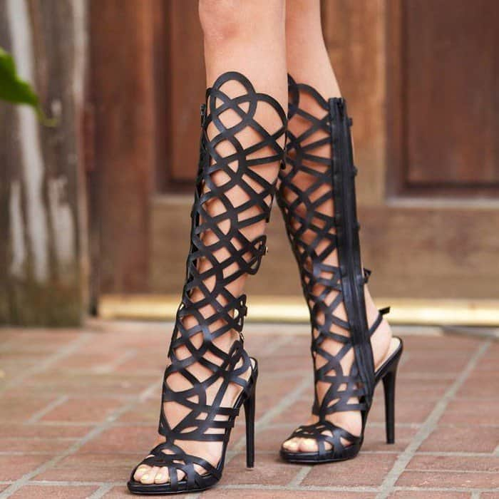 2f95208f824 Spend your nights at the VIP tables this spring with these amazing  knee-high gladiator. Knee-High Gladiator Sandals in Black