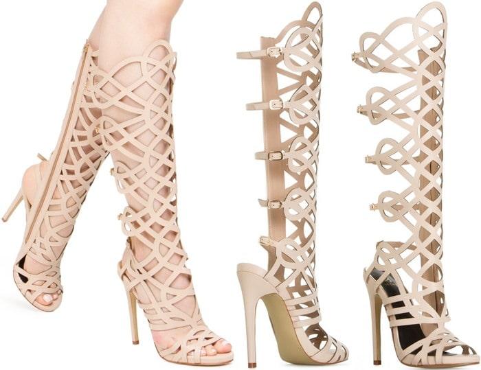 LINYAH Nude Gladiator Sandals