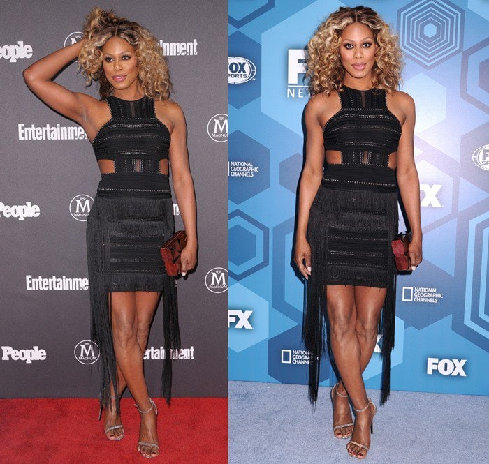 Laverne Cox accessorizedwith glittering Stuart Weitzman sandals, a Nathalie Trad clutch and Laura Cantu jewelry