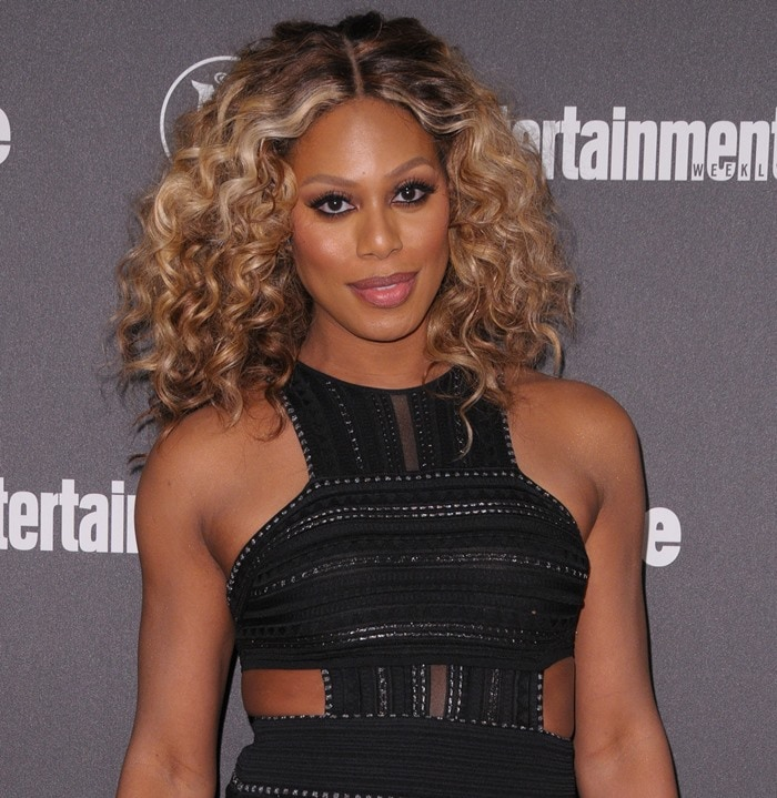 Laverne Cox in a cut-out RVN mini dress at the Fox Upfront Presentation Party and the Entertainment Weekly and People Upfronts Party on May 17, 2016