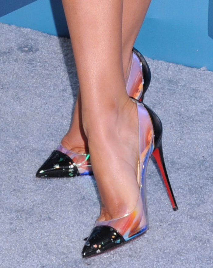 Lea Michele displays her sweaty feet in Christian Louboutin high heels
