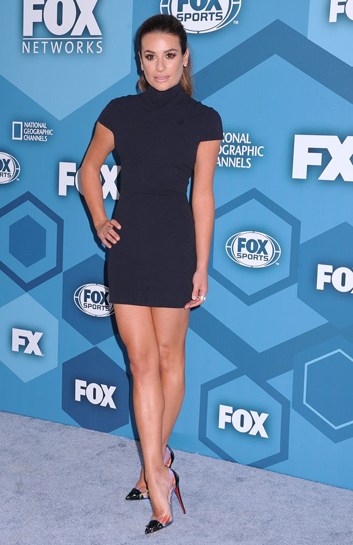 Lea Michele flaunts her legs while promoting the second season of Scream Queens