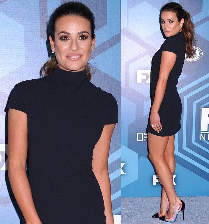 Lea-Michele-Solace-London-navy-blue-high-neck-dress