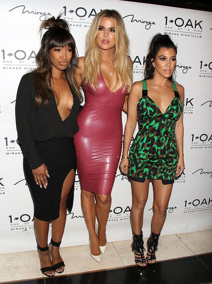 a4ed08e9bacc Khloe Kardashian Channels Sister Kim in Skintight Latex Dress and White  Python  So Kate  Pumps