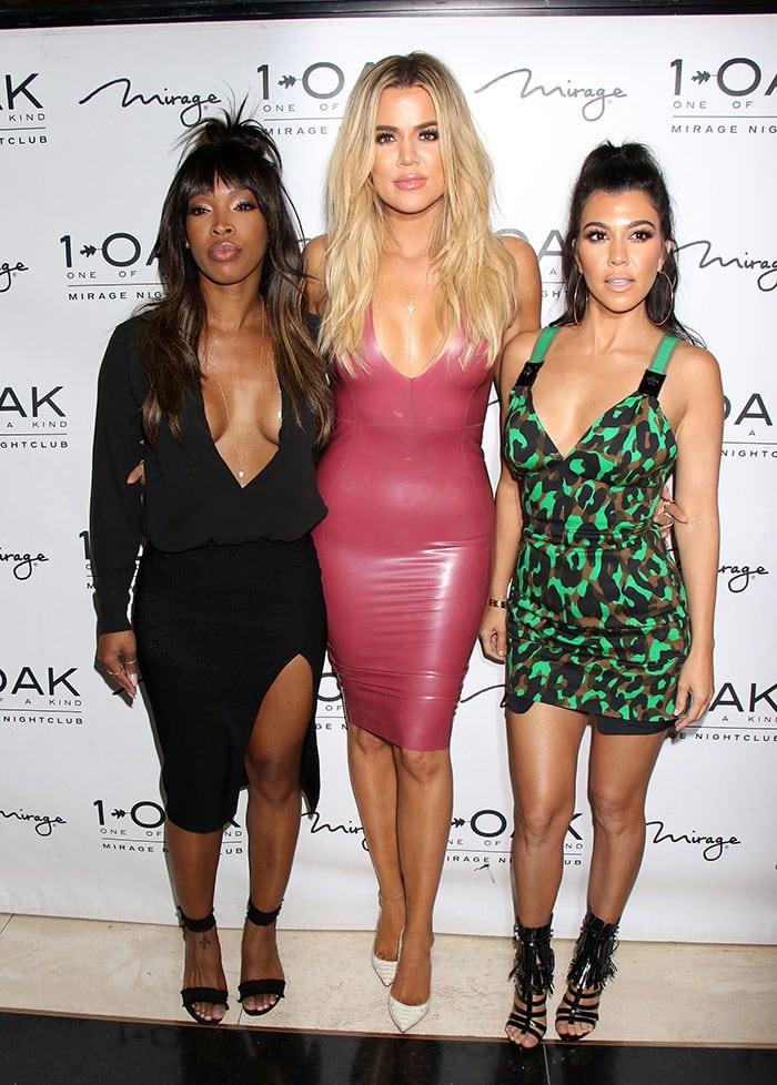Malika Haqq, Khloe Kardashian and Kourtney Kardashian at Scott Disick's birthday celebration in Las Vegas on May 27, 2016