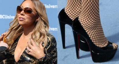 b6a140be66b Mariah Carey in Trashy Mini Dress and Sky-High Christian Louboutin Pumps