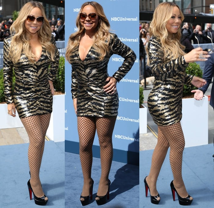 Mariah Carey styled her thigh-grazing sequined mini dress with fishnet stockings