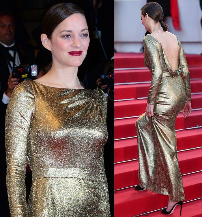 Marion-Cotillard-Dior-Long-Sleeve-Gold-Metallic-Dress