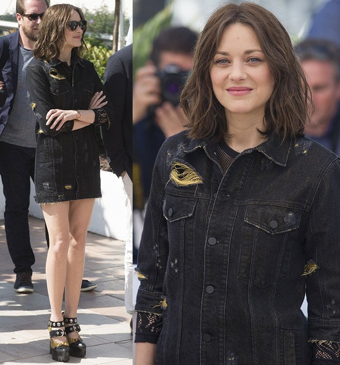 Marion-Cotillard-Legs-Distressed-Denim-Dress-Cannes-Photocall