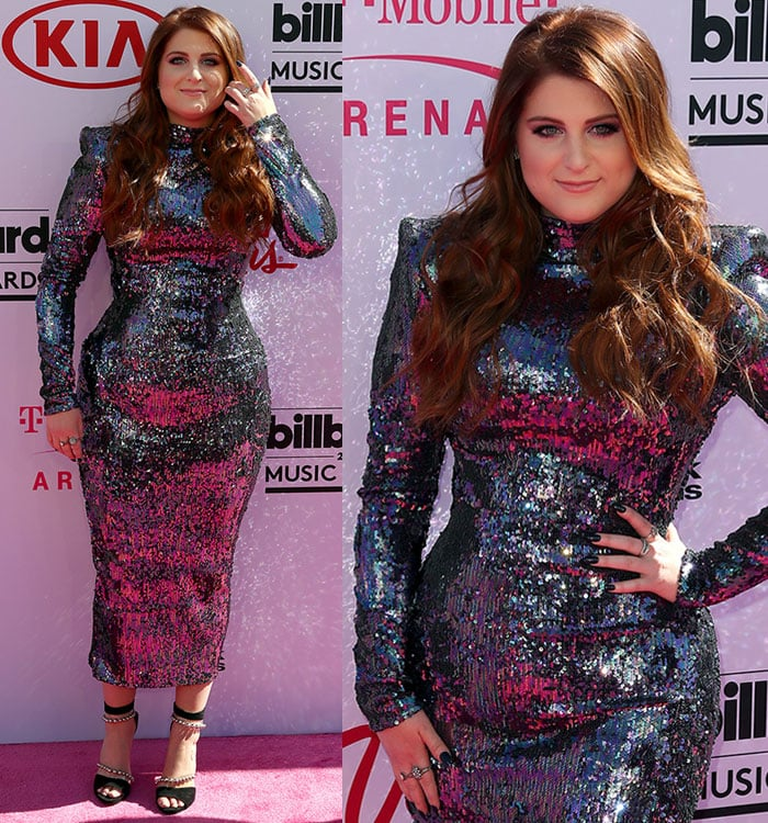 Meghan Trainor'ssequined dress hugged her hourglass curves in all the right places