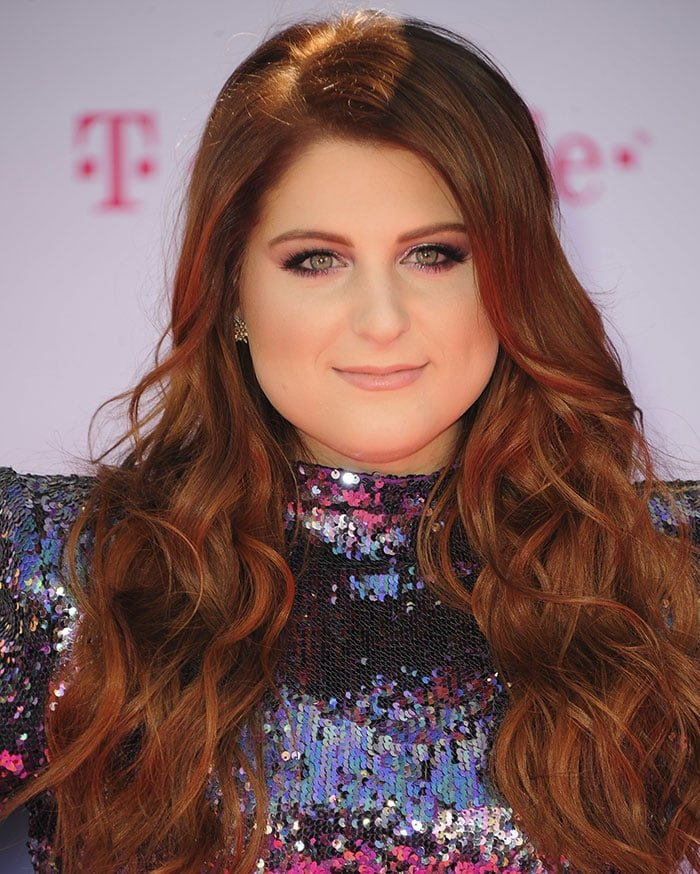 Meghan trainor in bead embellished alaa pvc and suede sandals meghan trainor smoky eyes nude lips loose curls publicscrutiny Choice Image