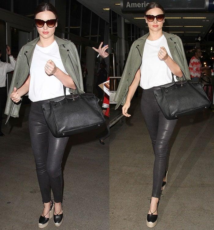Miranda-Kerr-green-lizard-jacket-white-tee-leather-leggings