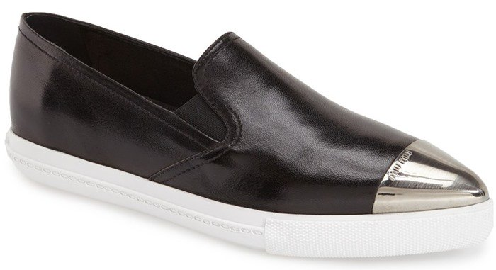 Miu Miu Cap Toe Slip On Sneakers in Black Leather