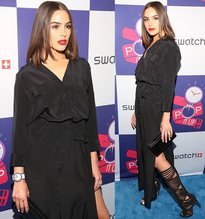 Olivia Culpo in a long, flowy shirtdress by L'Agence