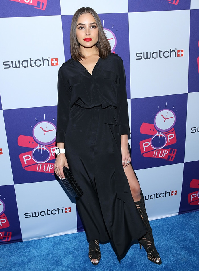 Olivia Culpo at Swatch Times Square flagship store opening and launch of the POP Collection in New York City on May 3, 2016