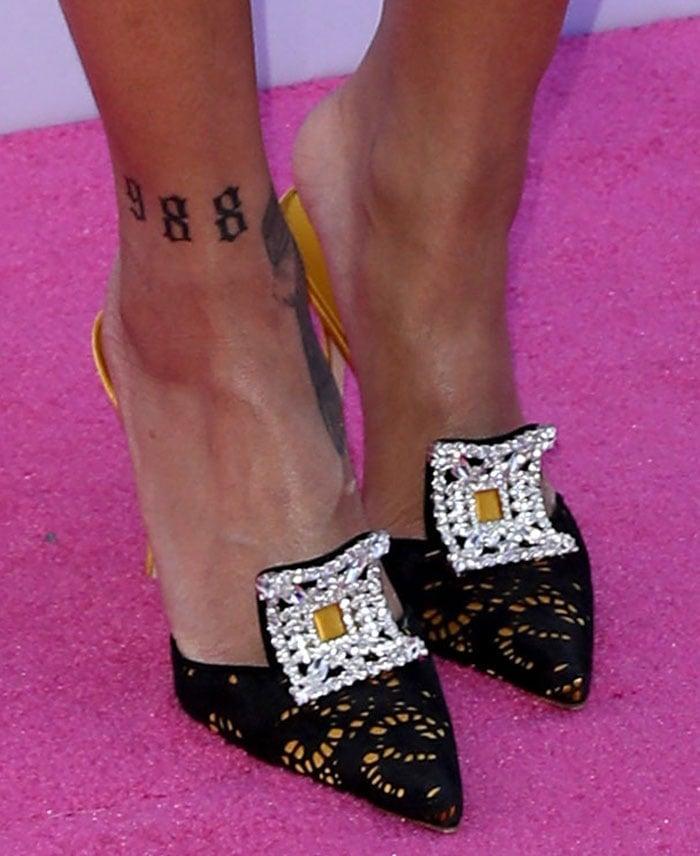 Rihanna Wears Crystal Manolo Blahnik Borli Mules