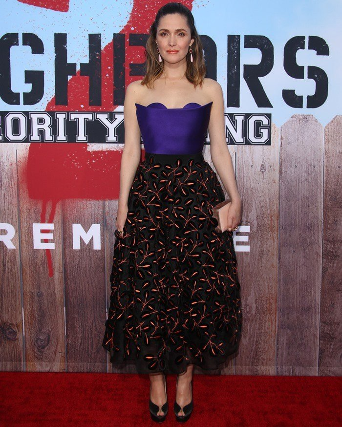 Rose Byrne wore a Delpozo ensemble featuring purple sweetheart fitted top and leaf-embroidered tulle skirt