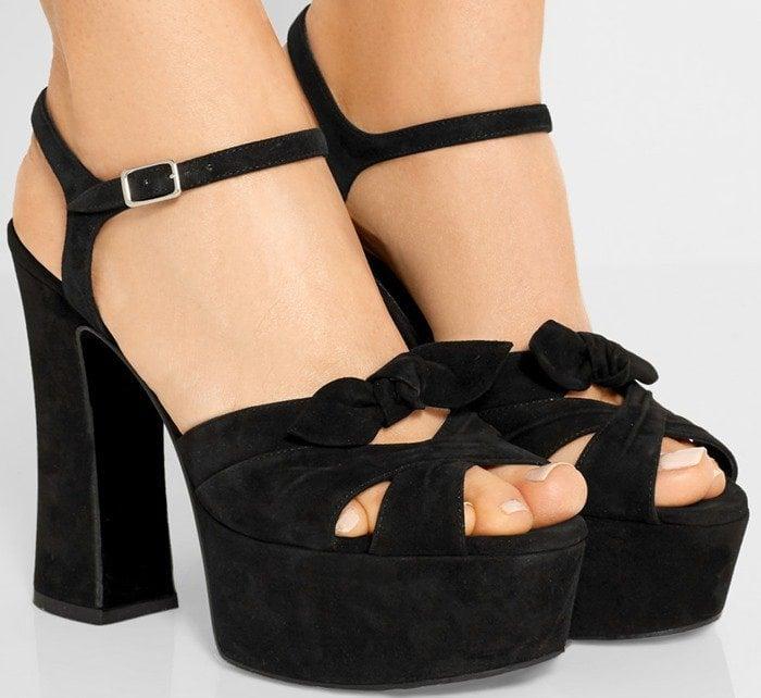 Saint Laurent Candy suede platform sandals in black