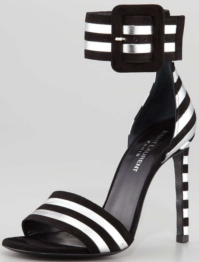 Paloma Striped Ankle-Strap Sandals