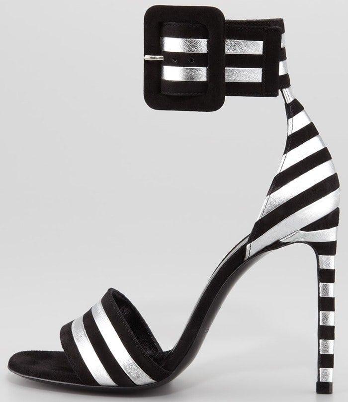 Saint Laurent Paloma Striped Ankle-Strap Sandals