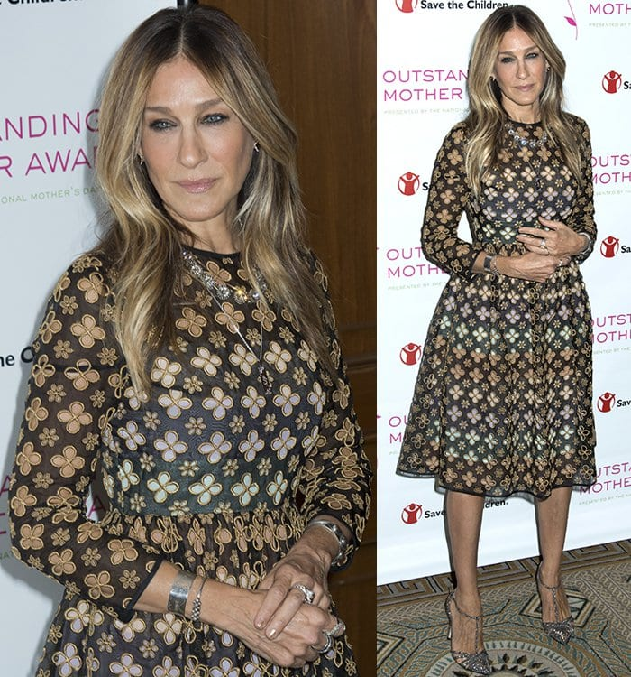 Sarah Jessica Parker's floral-patterned dress from Huishan Zhang