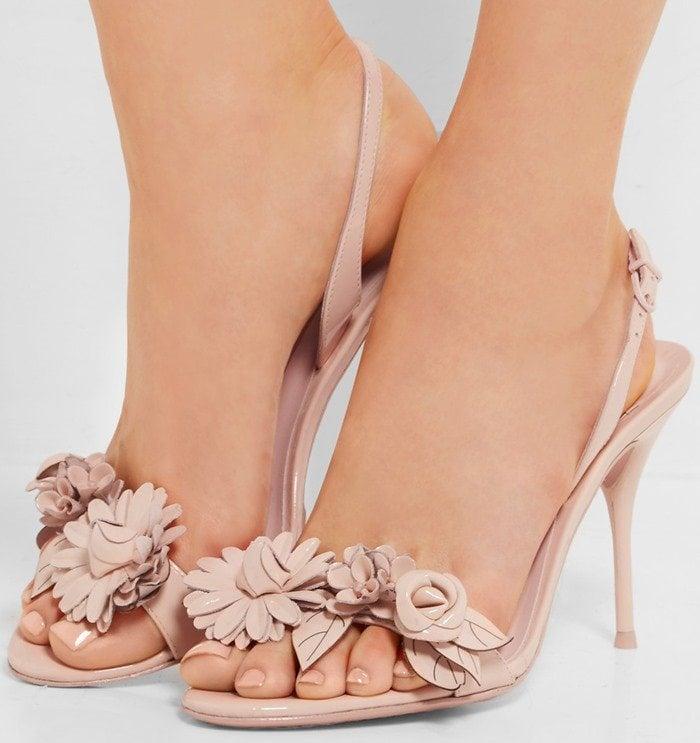 Sophia Webster Lilico appliqued patent-leather slingback sandals beige
