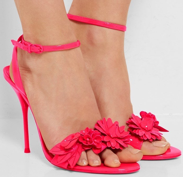 Sophia Webster Lilico appliqued patent-leather slingback sandals bright pink