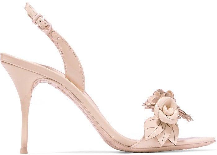 Sophia Webster Lilico appliqued patent-leather slingback sandals in beige